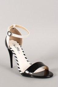 Wild Rose Tamara-05X Two Tone Ankle Strap Stiletto Heel