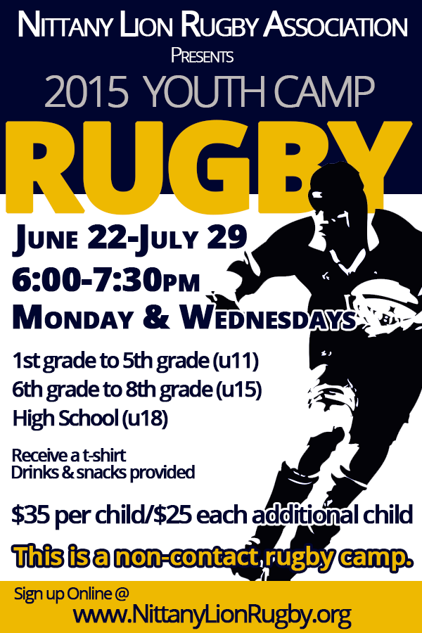 2015 Youth Flag Rugby Nittany Lion Rugby Association Rugby Lions Rugby Flyer
