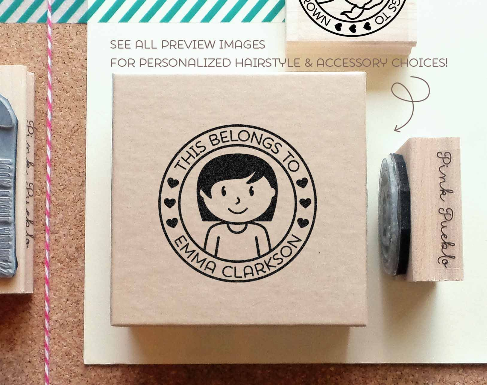 Personalized kids label stamp personalized rubber stamp for