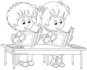 Imagenes de dibujos para colorear de niños leyendo | Precious