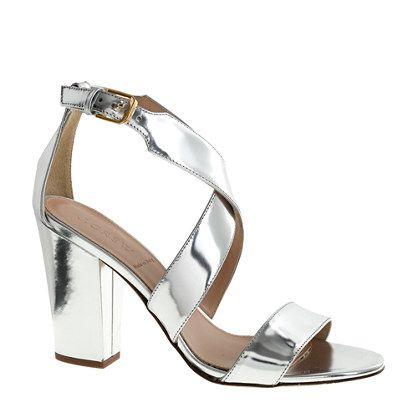 4d8a0a59018 J CREW. Callie high-heel metallic sandals. x