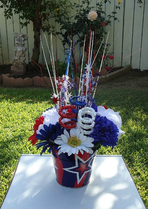Basket Silk Arrangement Flowers Floral Memorial Day 4th Of July American Holiday Decor July