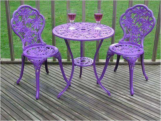 Gloss Purple Cast Aluminium Garden Furniture Bistro Set 640 x 480