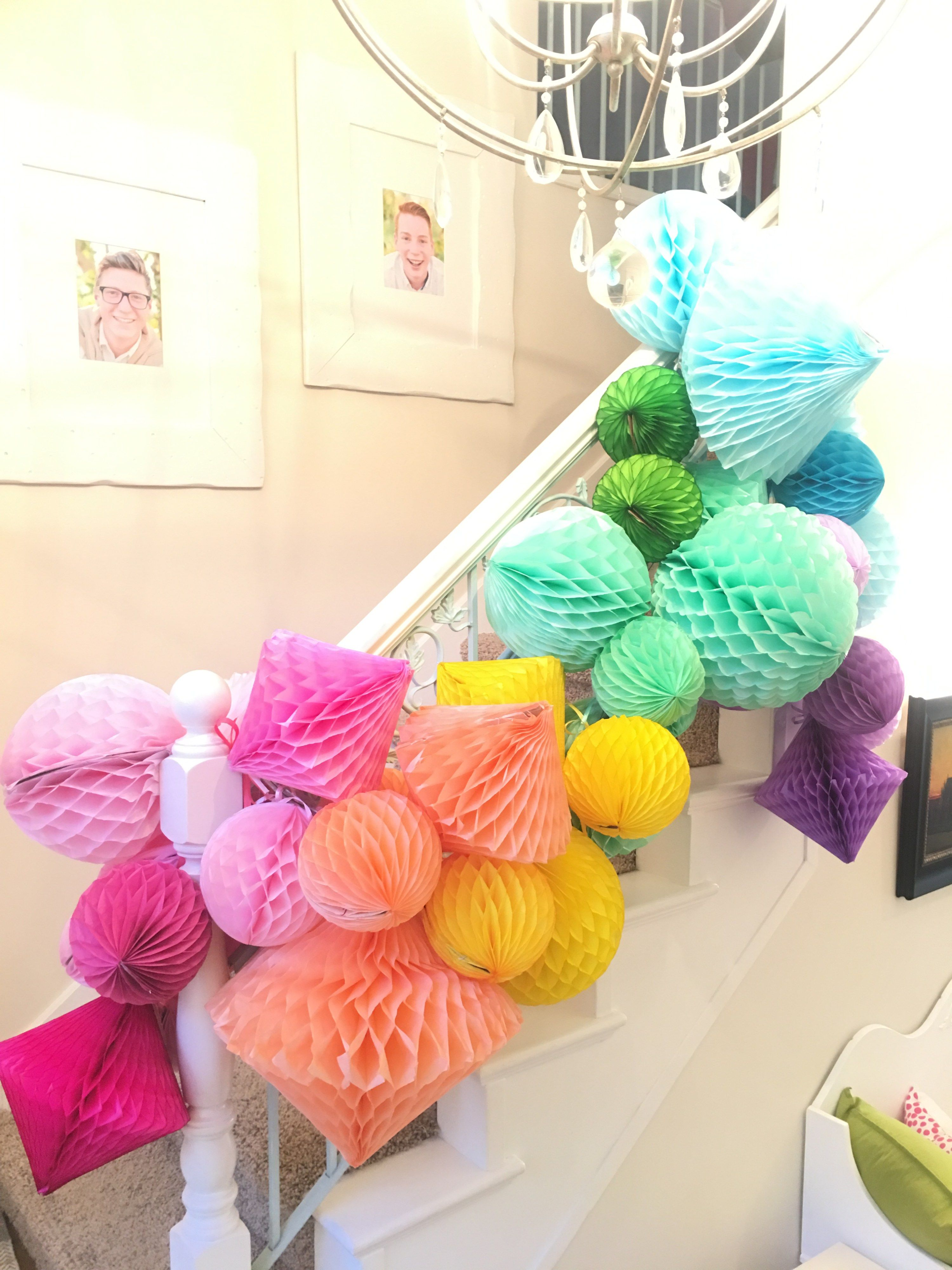 How To Make Giant Party Decor Using Honeycomb Balls The Glitzy Pear Paper Party Decorations Kids Party Decorations Tissue Paper Decorations