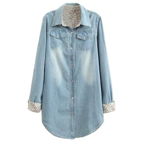 Lapel Double Pockets Long Sleeve Button Down Shirt (27 CAD) ❤ liked on Polyvore featuring tops, blue shirt, blue button down shirt, double pocket shirt, button up tops and shirts & tops