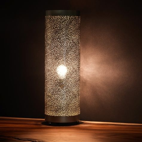 Pierced Metal Cylinder Lamp