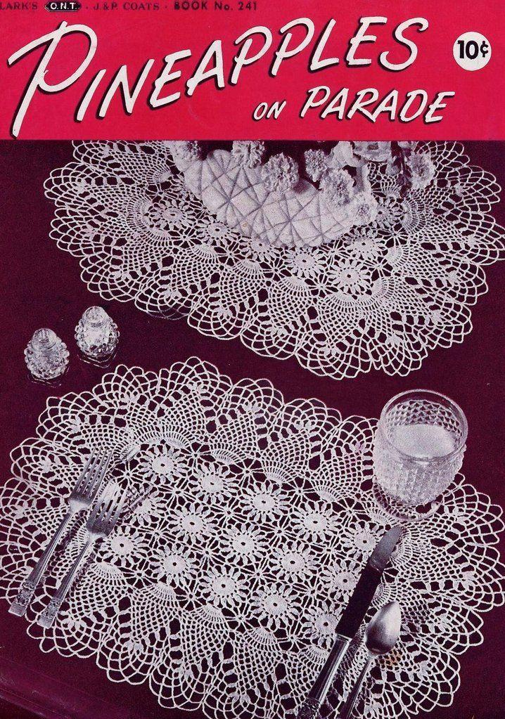 VINTAGE 1940s Crochet Book Coats Clark 241 Pineapples on Parade ...