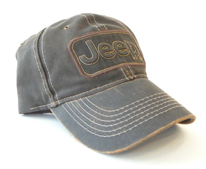 jeep logo baseball caps brown leather trucker style cap authority gifts blue stone washed
