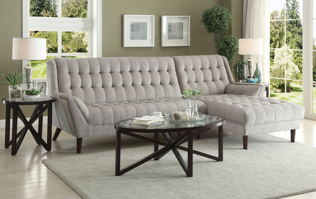 Dove Grey Chenille Sectional Cedar Ave Sofa