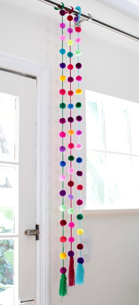 Photo of Handmade Bright Colored Pom Pom Garland / Mexican Decor #Decor #Colored …