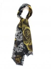 Skull and Yellow Roses Scarf by Shawlux