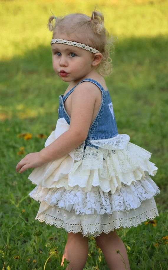 c05cb5a38c denim vintage linen and lace flower girl country wedding easter shabby chic  rustic burlap dress overalls bow 6 9 12 18 24 month 2 3 4T 5 6 7.