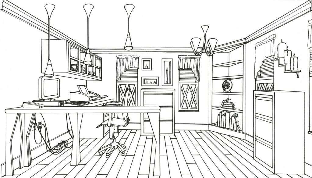 Interior Design Line Art : Line drawing home offfice interior drawings pinterest