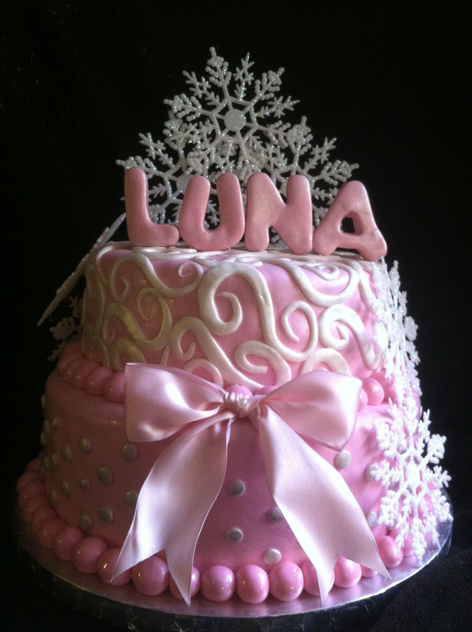 winter wonderland baby shower cake baby girl pinterest