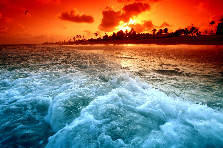 Nice And Fresh Zonsondergang Behang Prachtige Natuur Strand Zonsondergang