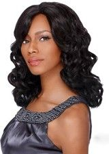 Adorable Jet Black Mid-length Wavy Synthetic Wig