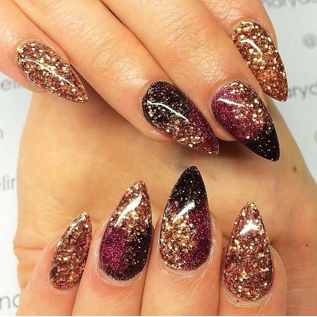 Crimson By Celinas Ryden From Nail Art Gallery Gold Glitter Stiletto Nails Black