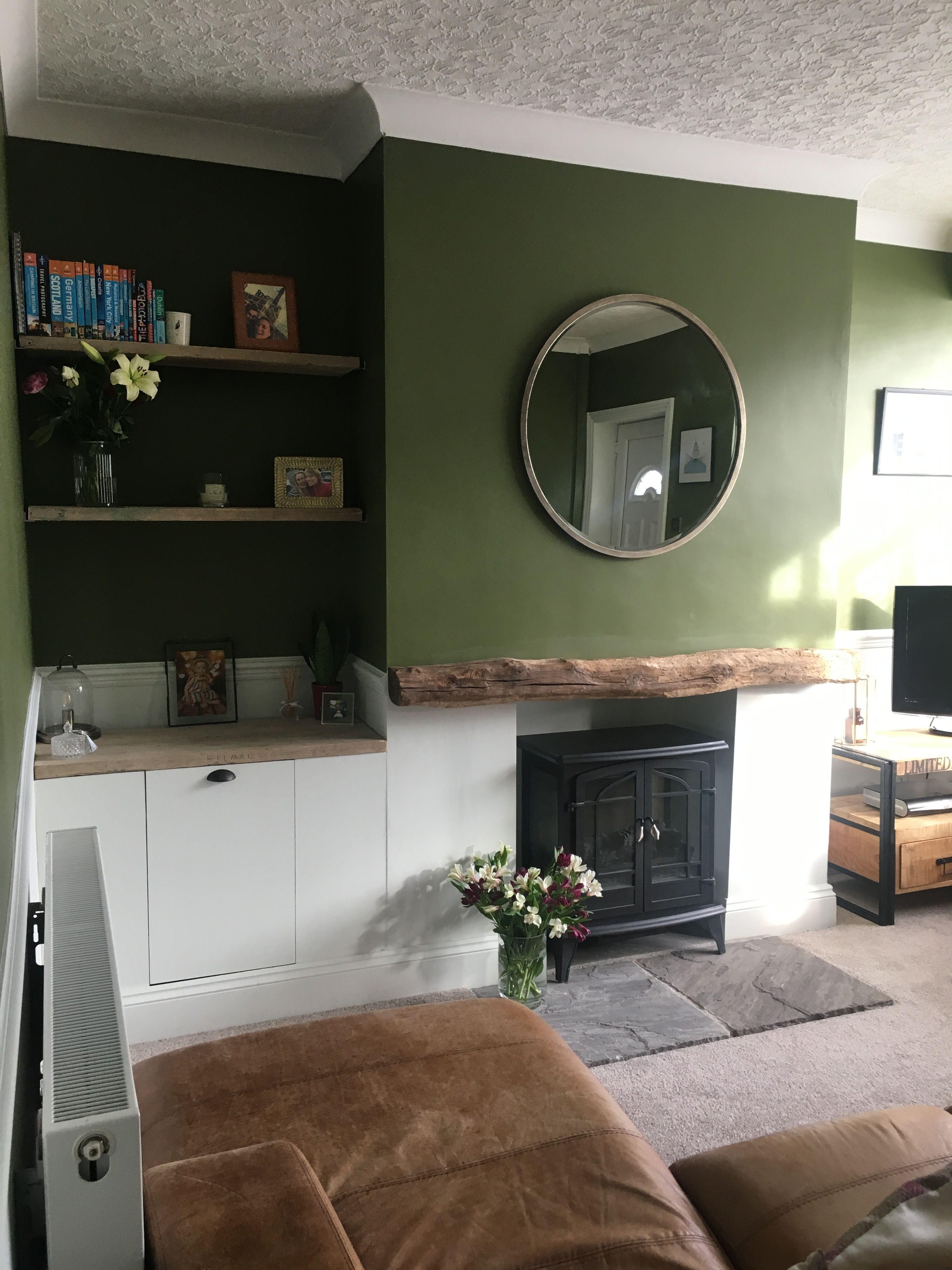 Dark Green Lounge With Dado Rail And Wood Dado Rail Living