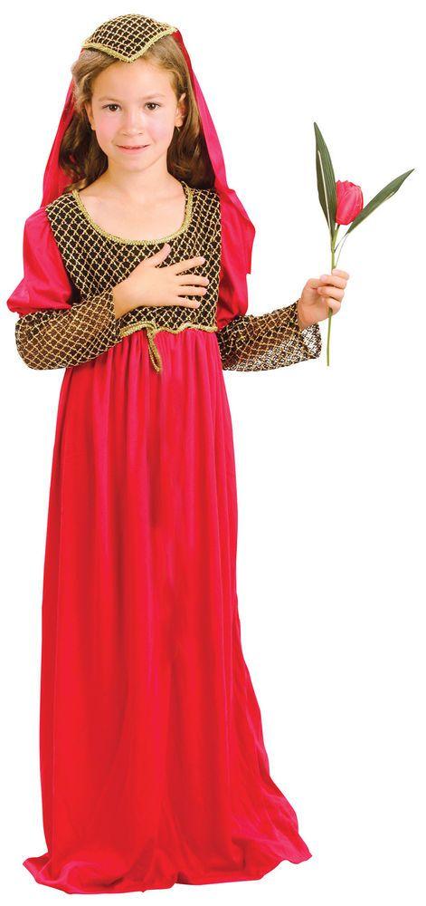 Kids Medieval Princess Red Juliet Girls Book Week Fancy Dress Childs Costume