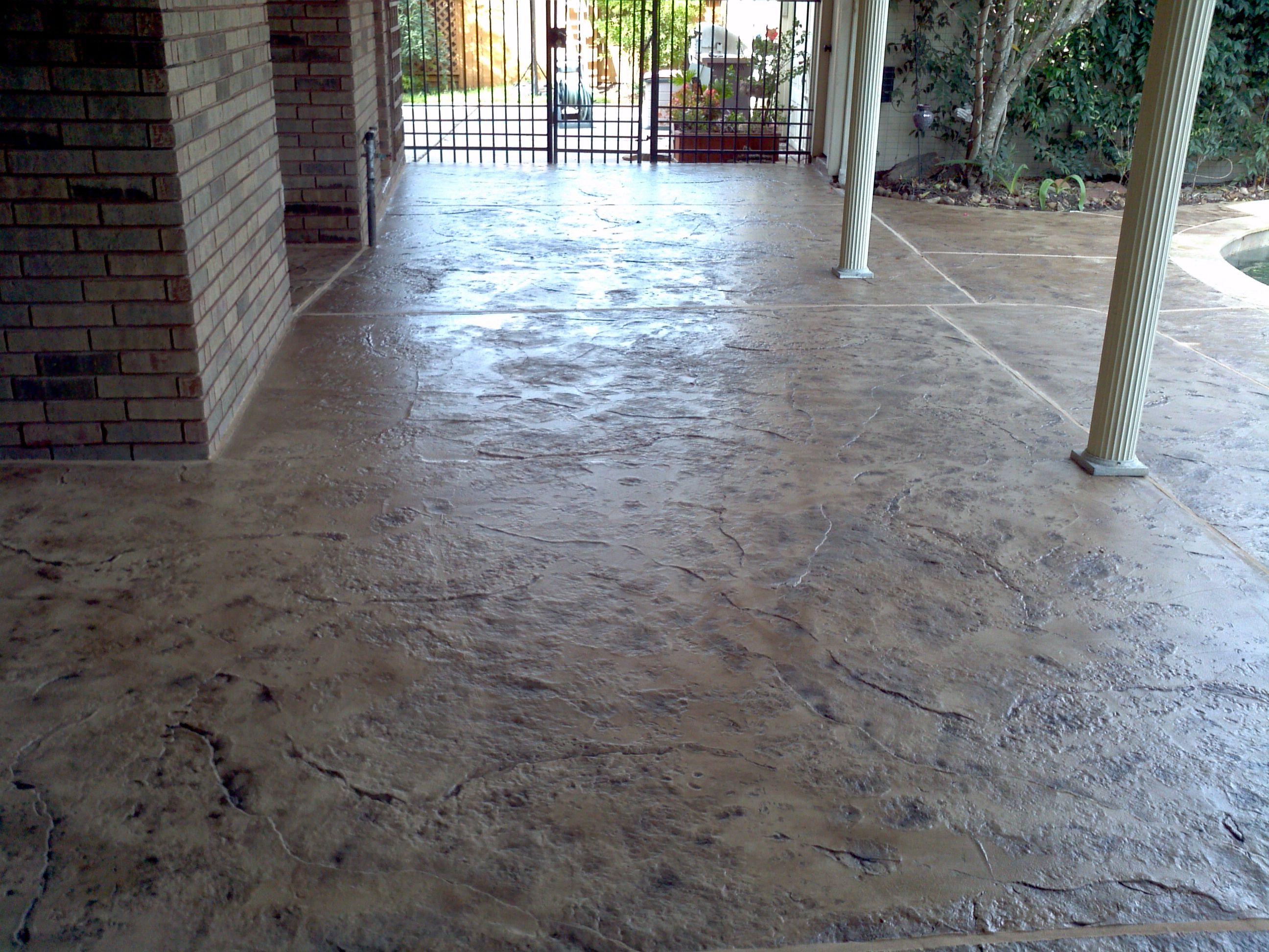 Stamped Overlay Old Granite Texture Concrete Resurfacing