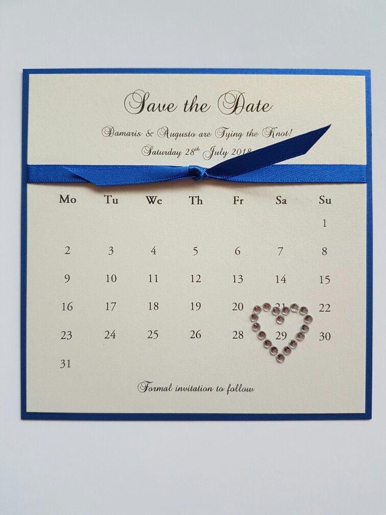 Royal Blue And Ivory Wedding Save The Date Idea Bespoke Stationery