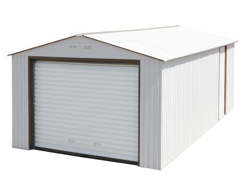 Duramax 12x26 White Metal Storage Garage Building Kit Metal Garages Metal Storage Garage Garage Door Design