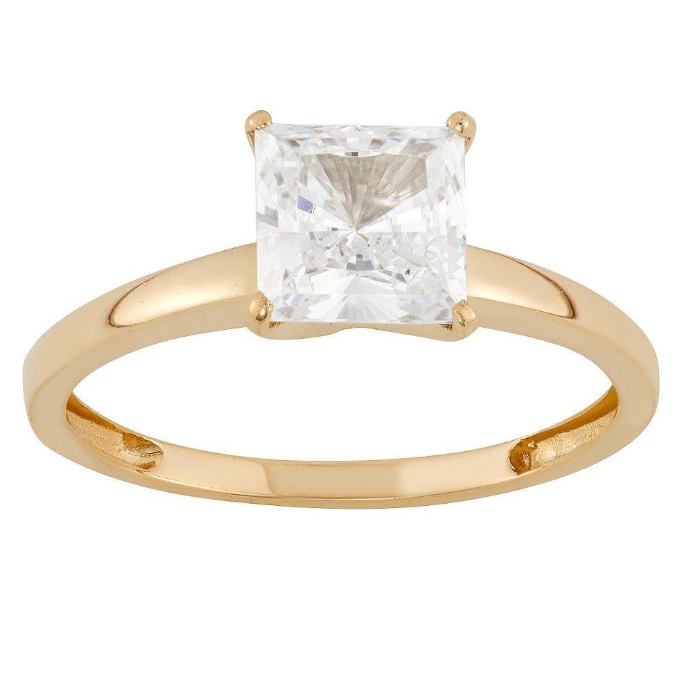 Tiara k yellow gold mm princesscut cz solitaire ring