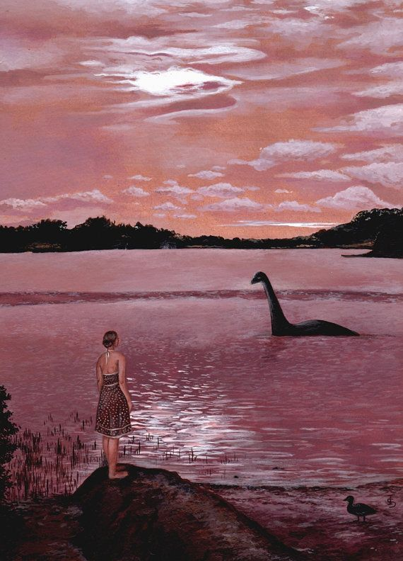 Meeting Nessie, Loch Ness Monster Art Print from original ...