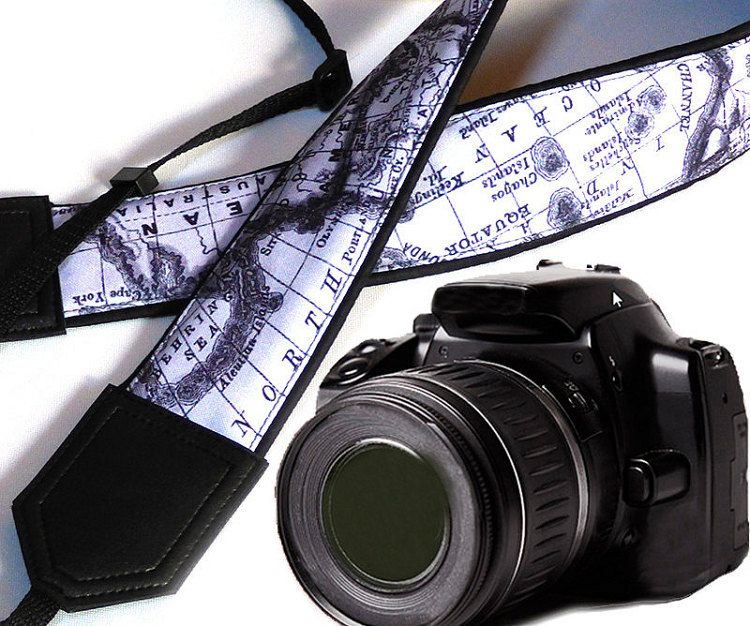 InTePro black and white Camera Strap. World Map Camera by InTePro