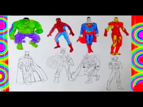 All Superheroes Coloring Pages 2 Superman Hulk Captain America Thor Flash Batman Spiderman Youtube All Superheroes Coloring Pages Batman Spiderman
