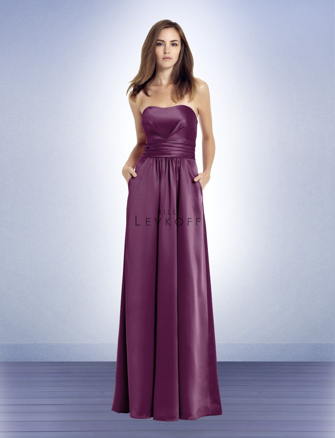 Wedding dresses with purple accents  Bill Levkoff Bridesmaid Dress Style  long in watermelon