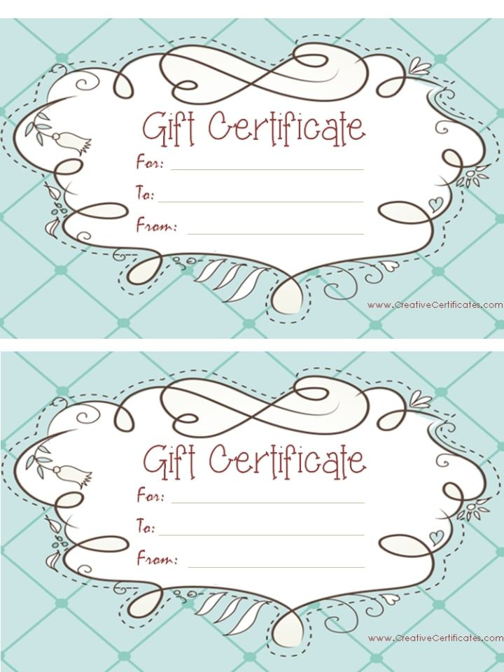 light blue gift certificate template with a cute design Business - blank certificates templates free download