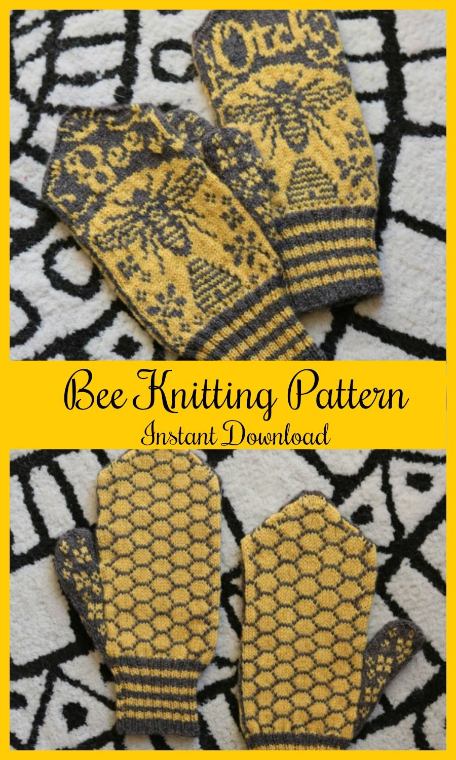 Bee Mittens - Whimsical Mittens - Funny Knitting Pattern - Pattern ...