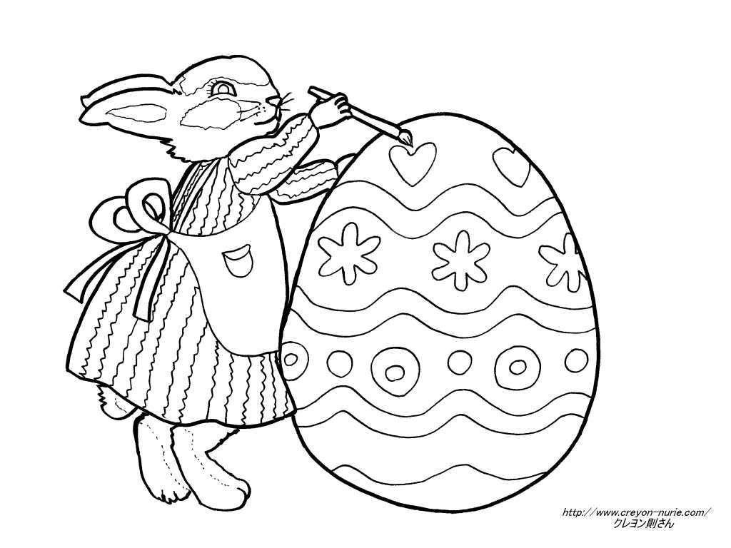 イースターバニーのエッグの塗り絵の下絵