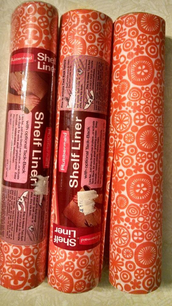 Rubbermaid Shelf Liner Vintage Orange Flowers Mod Boho 2 Rolls