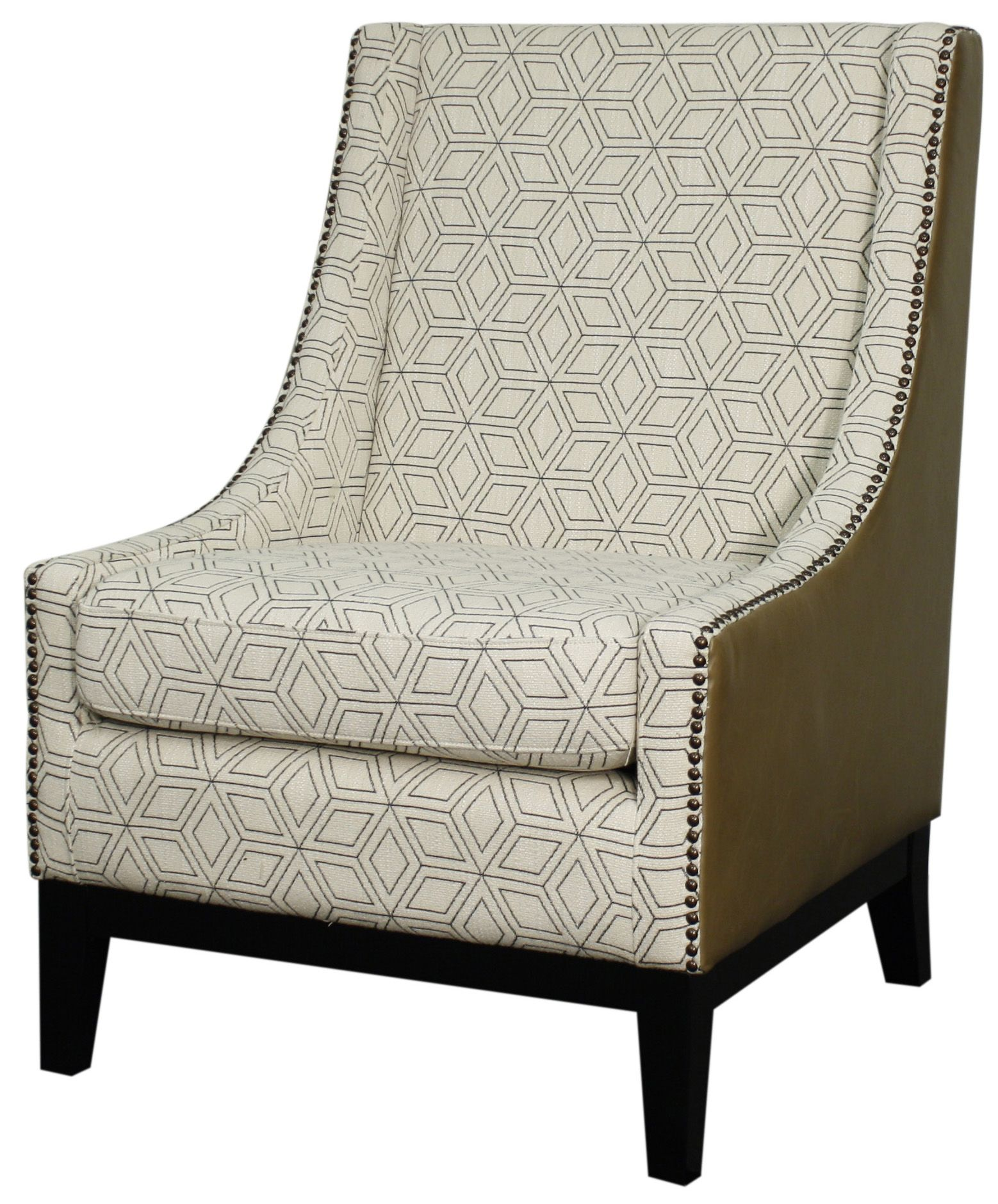 Marvelous Harrison Accent Chair In Geo Diamond/Vintage Taupe Pattern With Black Legs.  Constructed From
