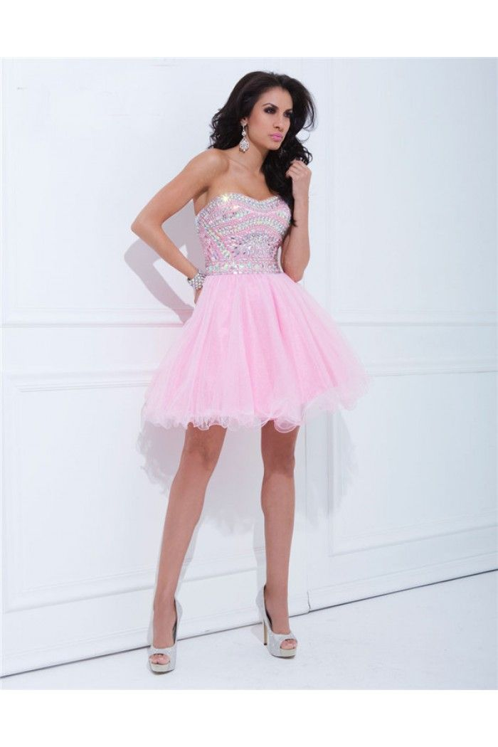 Ball Gown Strapless Short Pink Tulle Beaded Cocktail Prom Dress ...