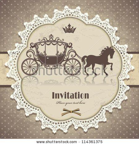 Vintage Cinderella Storybook Invitation Template Vintage Horse