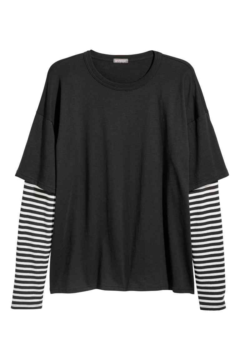 9afdb41d471 Double-sleeved T-shirt - Black Striped - Men