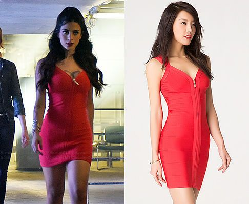 Isabelle (Emeraude Toubia) wears a Bebe Deep V ZIpper Bodycon Dress in the color Bittersweet in Shadowhunters Season 1 Promo Images. #shadowhunters #freeform