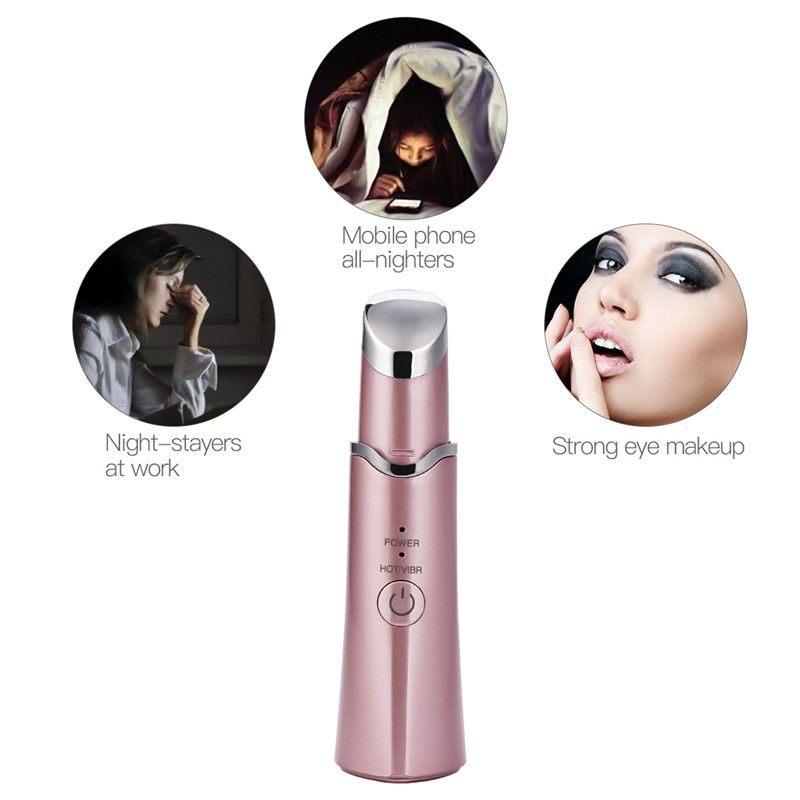 Mini Portable Vibration Facial Eye Massager Wand Heat Therapy Lip Massage Tightening Dark Cir...