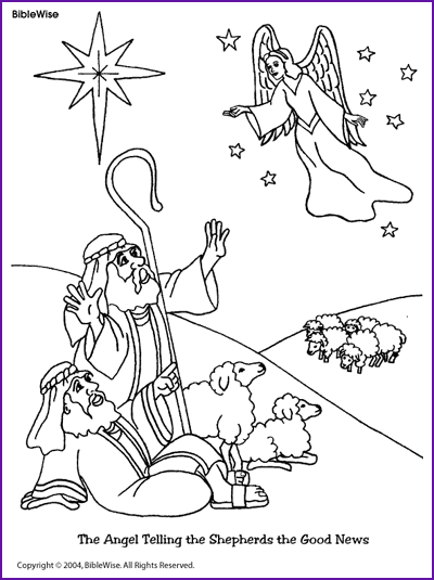 coloring angel telling shepherds about jesus birth kids korner biblewise