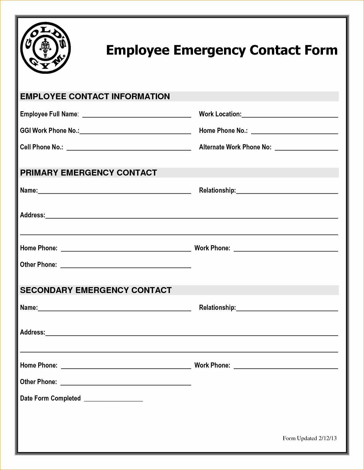 Employee Emergency Contact Form Template Beautiful Employee Emergency Contact Printable Form To Pin Emergency Contact Form Contact Card Template Contact Card