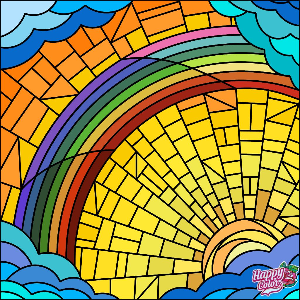 Sunrise Rainbow Mosaic Colorful Art Happy Colors