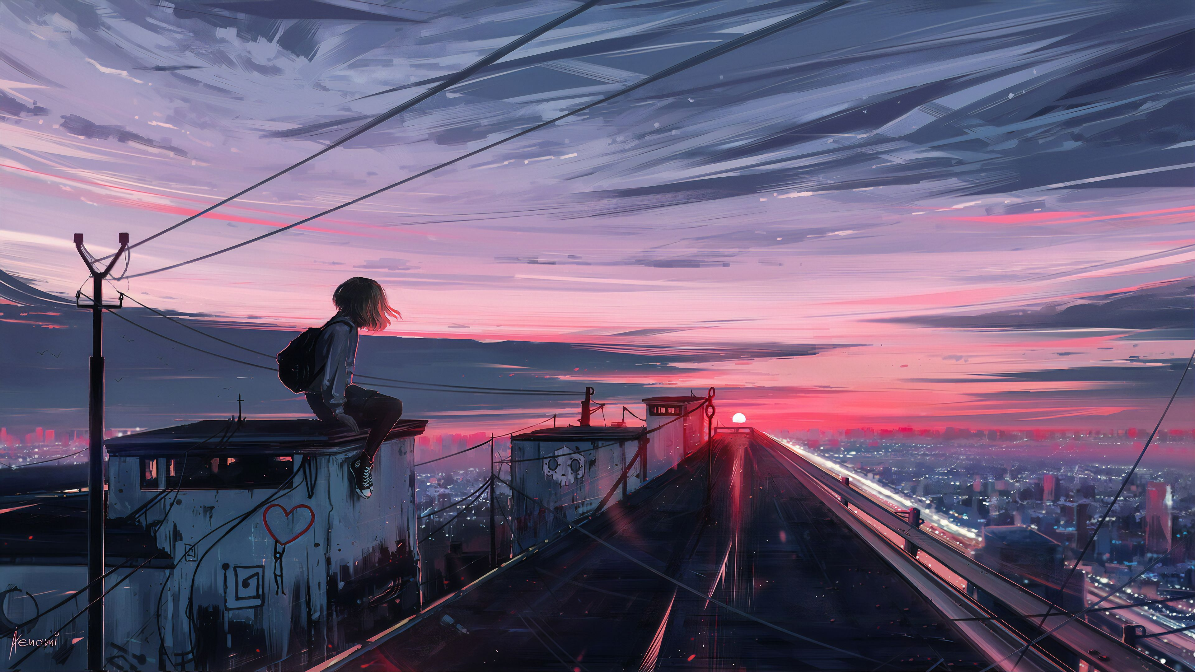 Roofline Girl Hd Wallpapers Digital Art Wallpapers Artwork Wallpapers Artstation Wallpapers Artist Anime Scenery Wallpaper Scenery Wallpaper Anime Scenery