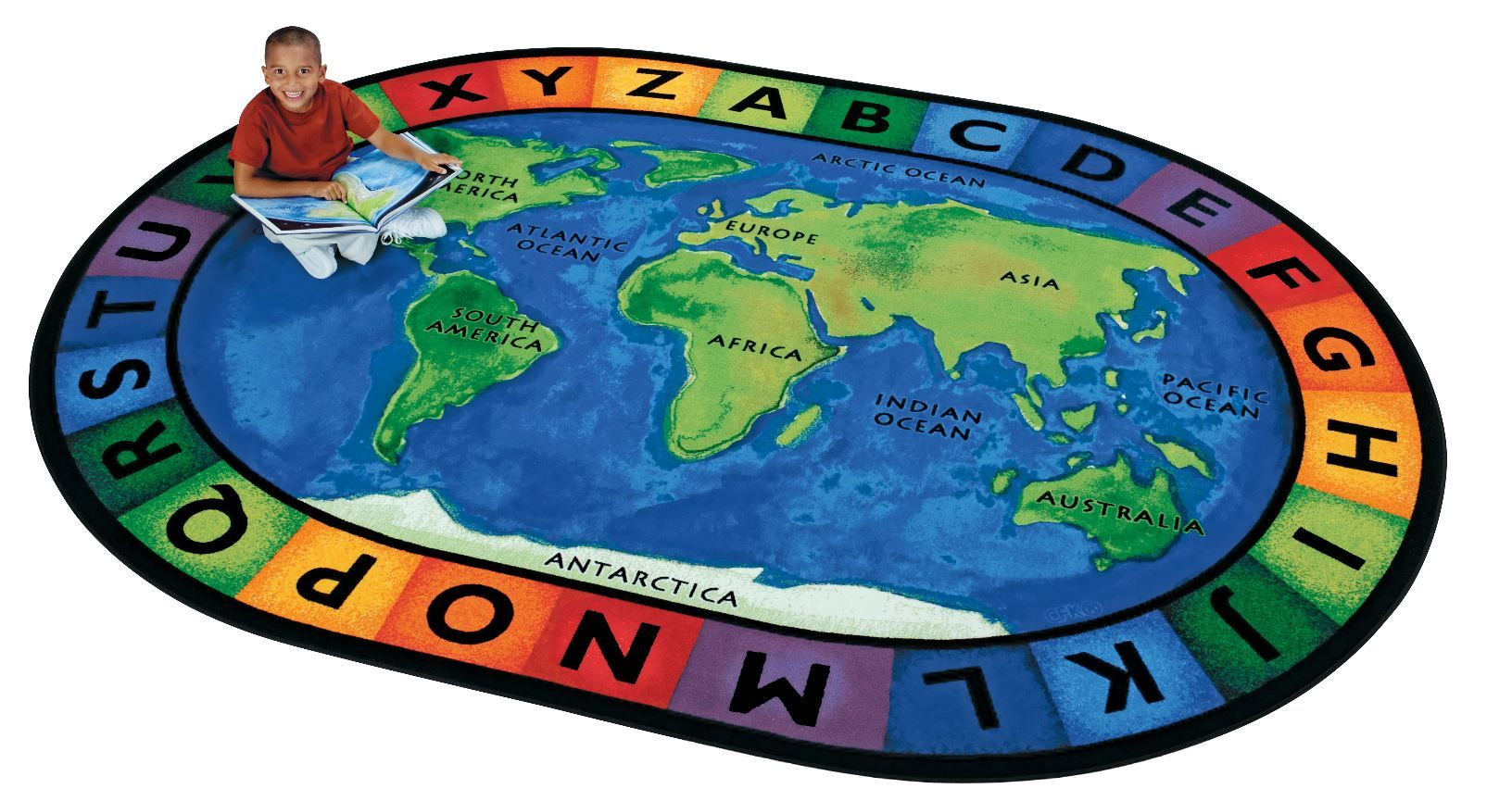Circletime around the world rug educational carpets seating rugs the around the world map classroom rug features the oceans and continents plus the alphabet the ultimate learning rug for circle time or anytime gumiabroncs Image collections