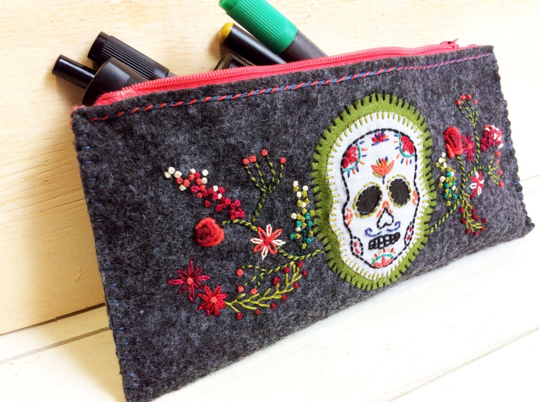 Sugar skull hand embroidered felt case (30.00 USD) by CREAMENTE