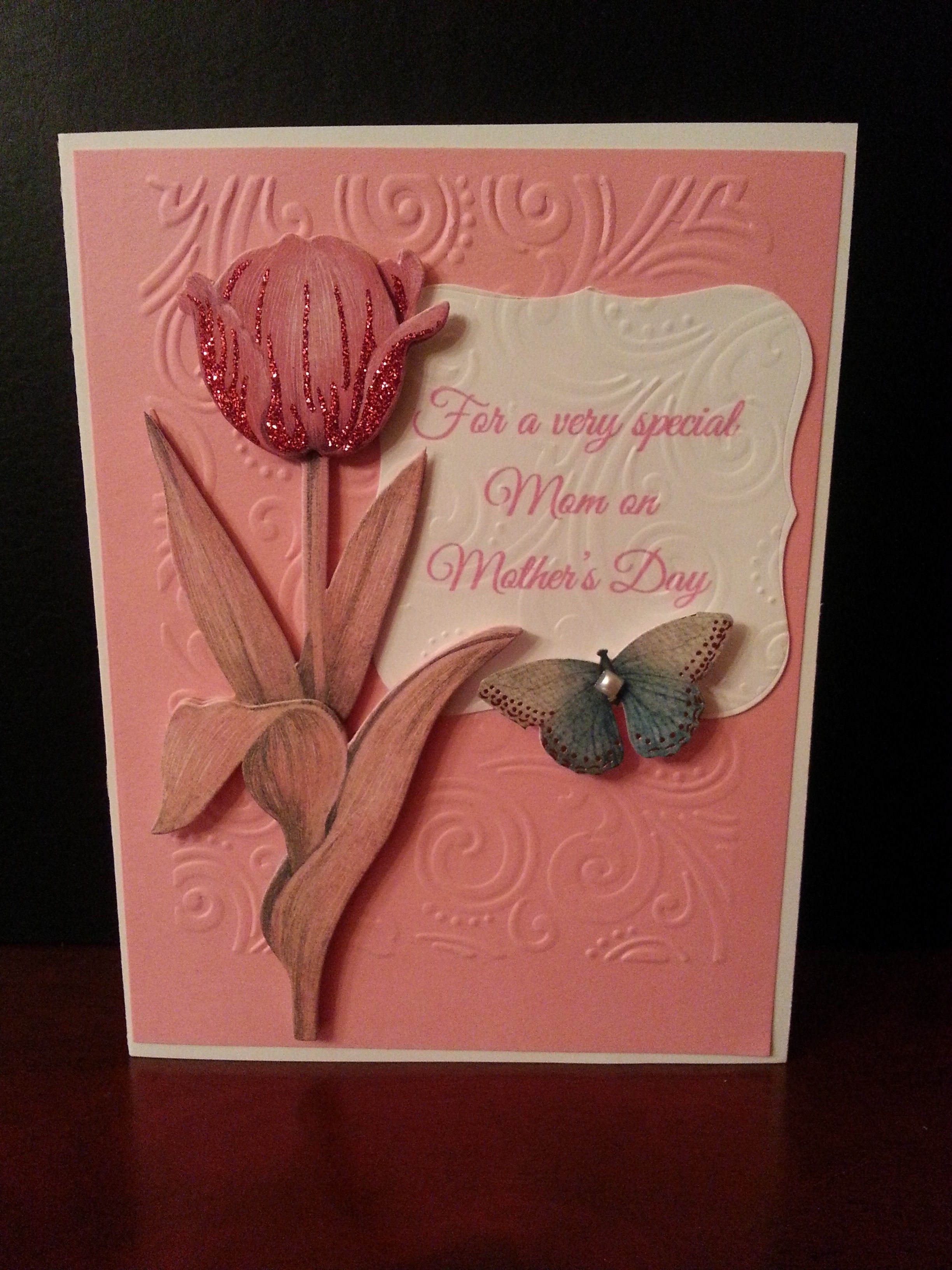 www.fb.com/susansdesignstudio  This is a beautiful Mother's Day card. The inside is blank so you can add your personal sentiment. Finished card is 6 1/2 x 5 inches. $5.00 Cdn. Mother's Day 2