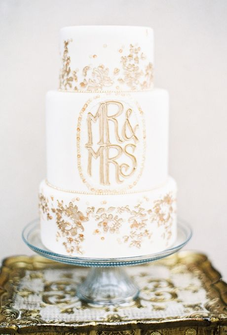 White And Gold Monogrammed Wedding Cake