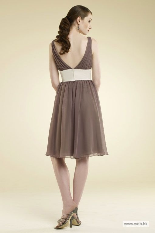 V-neck chiffon bridesmaid dress with empire waist   Empire ...